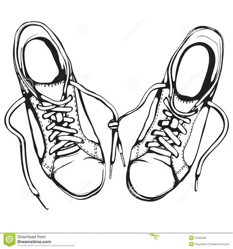 shoe clipart black and white shabby running shoes in black ink stock vector