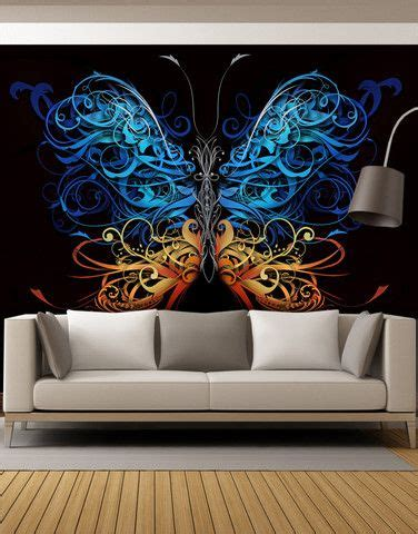 large swirl butterfly wall graphic mural  butterfly