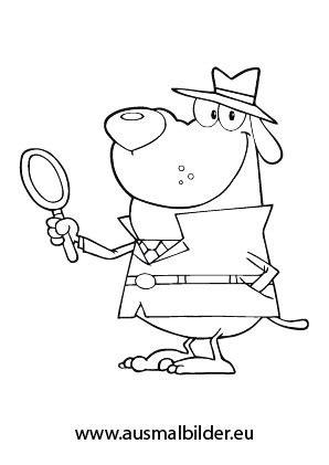 ausmalbilder detektiv hund hunde malvorlagen