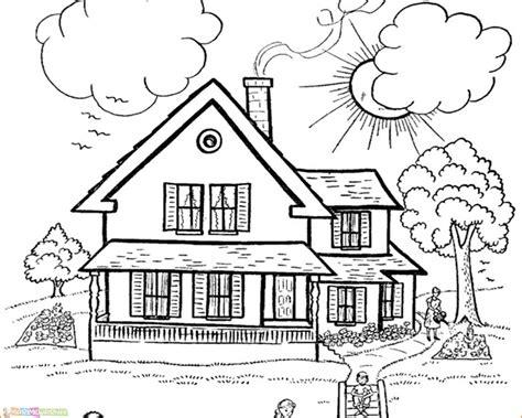 sketsa gambar rumah kartun yang bagus