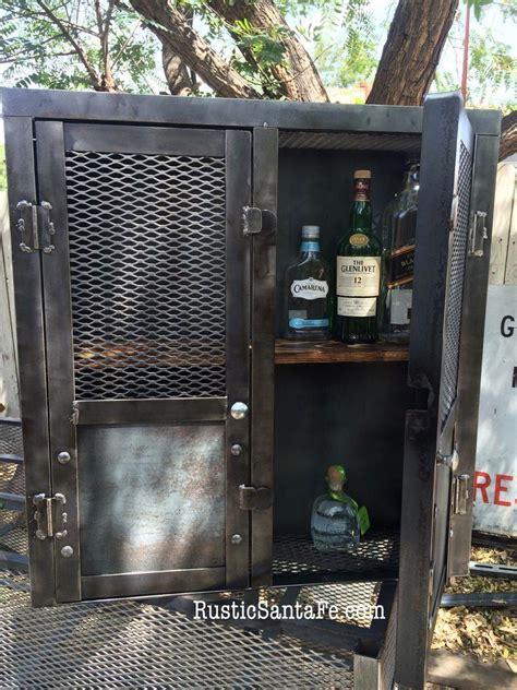industrial hand  liquor cabinet rustic wine rack