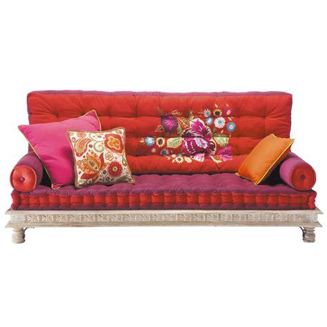 canapé indien maison du monde banquette indienne 2 3 places en coton multicolore monoï
