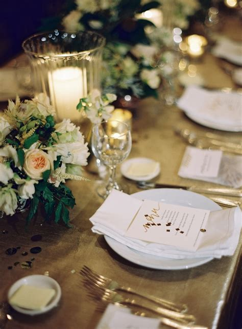 new orleans black tie wedding reception decor place setting gold once wed
