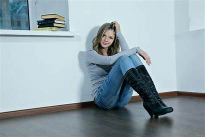 Boots Jeans Leather Blonde Sitting Catherine Wall