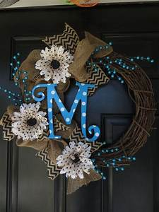 burlap wreath with monogram initials polka dot letters With letter wreaths for sale