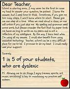 Back To School Dear Teacher What Your Dyslexic Student Teaching Heart To Heart It 39 S That Time Of Year Again Guidelines For Writing A Thank You Note To A Professor Thank You Letter To Kindergarten Teacher Sample Thank You