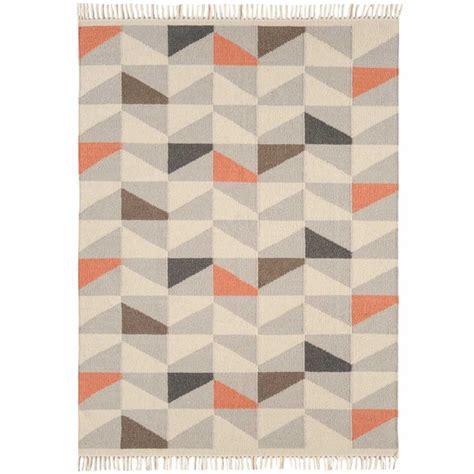 tapis gris et orange tapis contemporain 224 motifs g 233 om 233 triques en orange gris et bleu