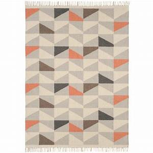 tapis contemporain a motifs geometriques en laine orange With tapis gris orange