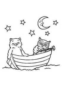 Owl and Stars Coloring Page
