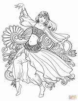 Coloring Dancing Dance Woman Gypsy Pages Belly Printable Arabic Drawing Dancer Adult Mandalas Para Colorear Sheets Dibujos Line Books Colouring sketch template