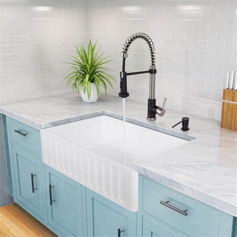 vigo kitchen sinks reversible matte white farmhouse kitchen sinks in 3150