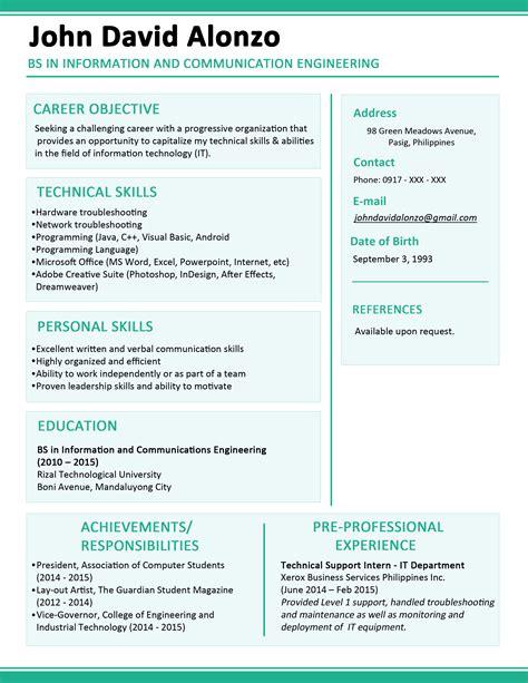 curriculum vitae sample format philippines