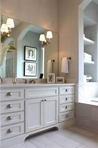White shaker style master bath cabinets