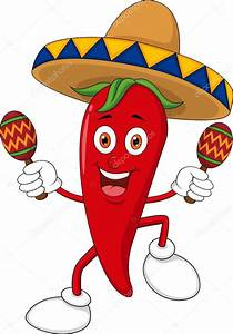 Happy chili pepper cartoon dancing with maracas — Stock ...