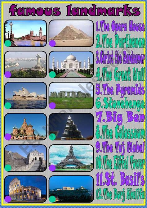 famous landmarks esl worksheet  liliaamalia
