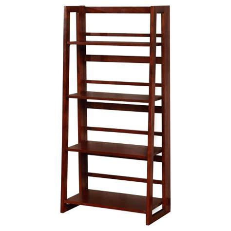 """Dolce 4 Shelf Folding Bookcase 48"""" Dark Walnutcherry"""