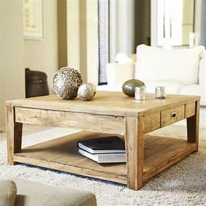 Table Basse Carrée En Bois : table basse en bois de teck recycl 100 cargo bois ~ Teatrodelosmanantiales.com Idées de Décoration