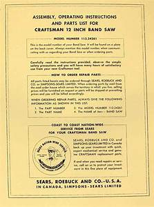 Craftsman 12 U0026quot  Band Saw 113 24261 Operator  U0026 Parts Manual