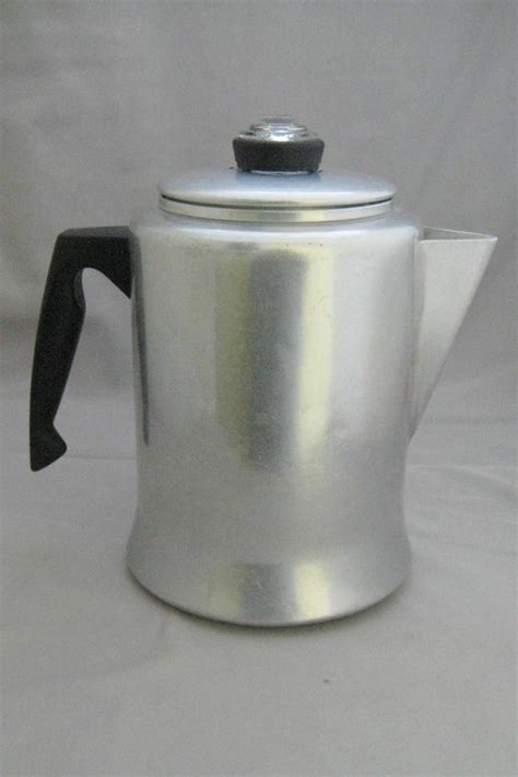 vintage mirro aluminum 9 cup stove top cing percolator coffee pot