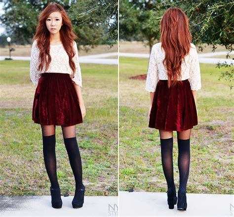 Myu Cha  Velvet Skirt, Lace Top  Red Velvet Lookbook