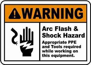 Warning arc flash shock hazard label j5541 by for Arc flash hazard label