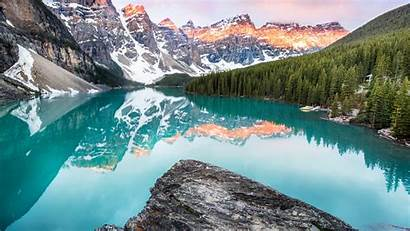 4k Banff Canada Lake Moraine Forest Mountains