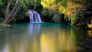 earth, waterfall, lake, around, green, trees, hd, nature, wallpapers