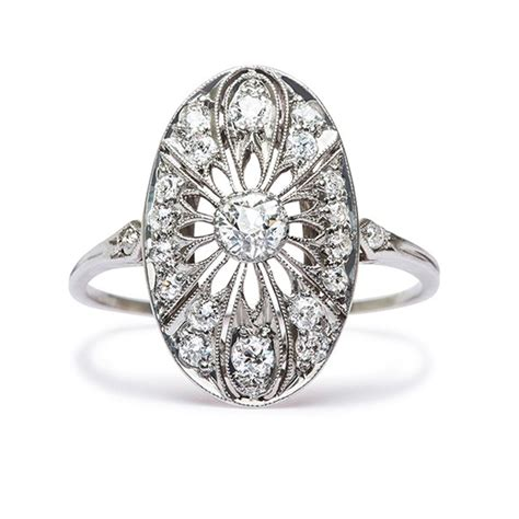 Vintage Inspired Engagement Edwardian Ring  Ipunya. Married Couple Wedding Rings. Round Shape Engagement Rings. Jan Birthstone Wedding Rings. Wave Shaped Engagement Rings