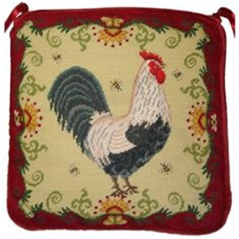 rooster hooked chair pads chairs needlepoint and roosters on