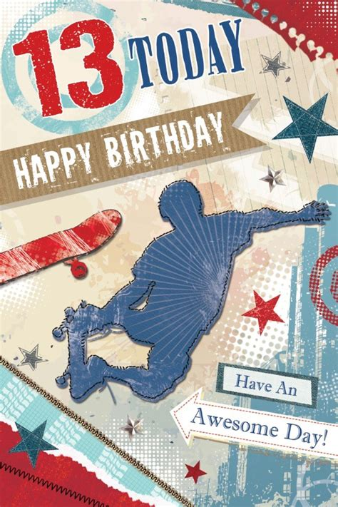 age  boy birthday card young boy outline skateboards