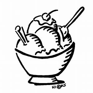 Bowl Of Ice Cream Clipart Black And White | Clipart Panda ...