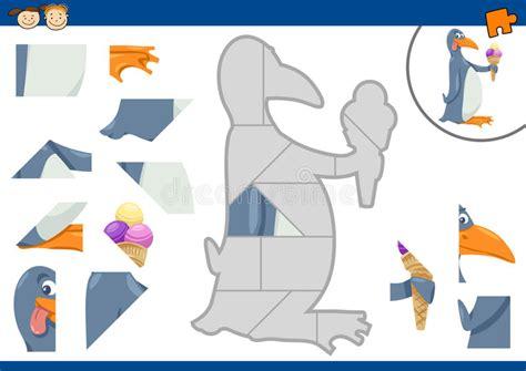 Cartoon Penguin Jigsaw Puzzle Task Stock Vector