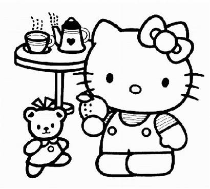 Kitty Hello Coloring Pages Party Tea Disney