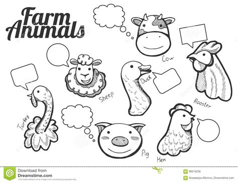 Welcome to our funny farm wooden magnet. Funny Farm Animals Hand Drawn Icons Stock Vector ...