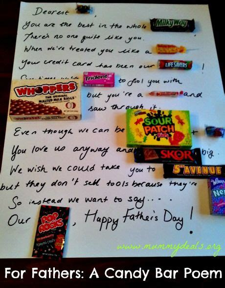 Father's Day Candy Poem