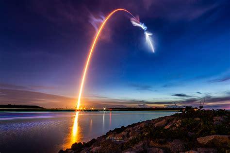 CRS15 launch streak into orbital sunrise   Teslarati : spacex
