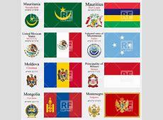 Flag and coat of arms of Mauritania, Mauritius, Mexico