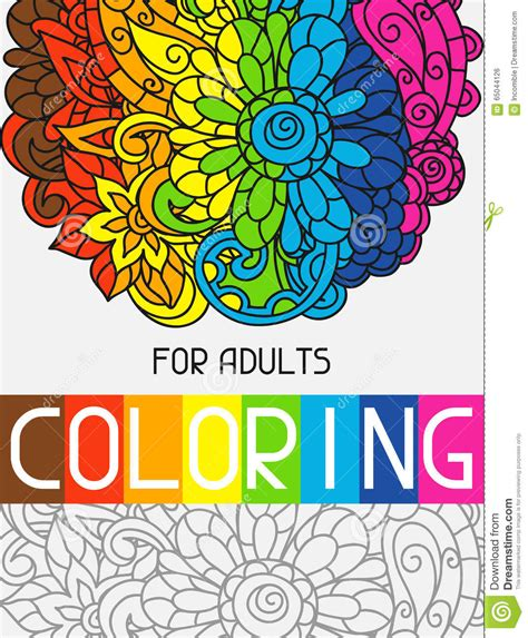 adult coloring book design for cover illustration stock