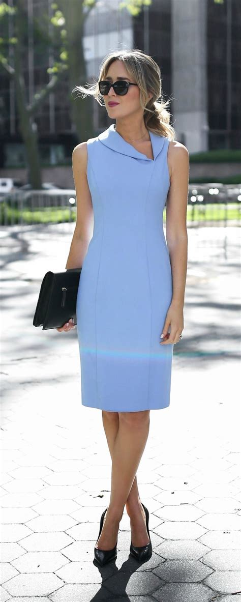 shabby blue kunee classic periwinkle blue knee length sheath dress with asymmetrical shawl collar neckline