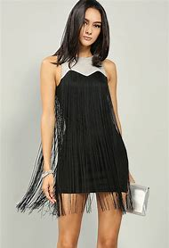Fringe Metallic Mini Dress