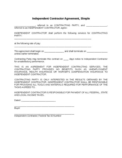 16899 simple agreement form independent contractor agreement gallery