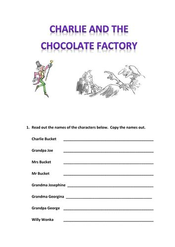 charlie   chocolate factory themed worksheet