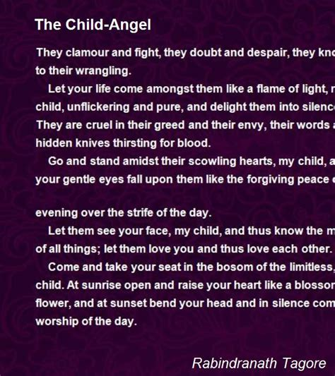 child angel poem  rabindranath tagore poem hunter