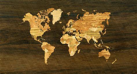 wooden world map digital art  hakon soreide