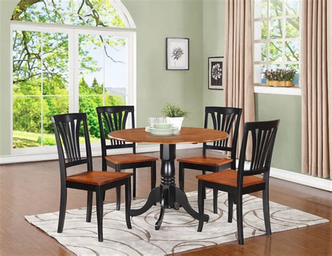 round kitchen table with 4 chairs 5pc dinette set 42 quot round drop leaf kitchen table 4 avon