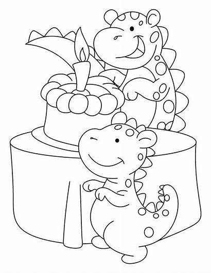Coloring Birthday Cards Dinosaur Pages Card Happy