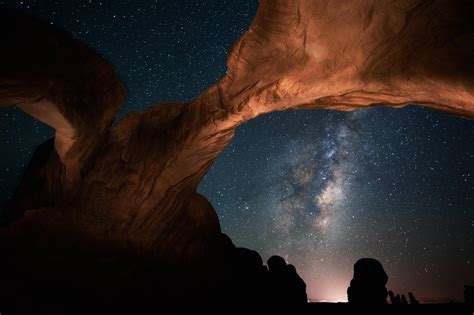 Space Nebula Arch Night Milky Way Rock Formation