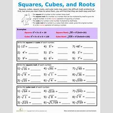 Building Exponents Squares, Cubes, And Roots  Worksheet Educationcom