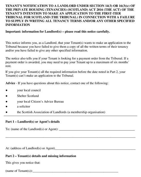private residential tenancies prescribed notices