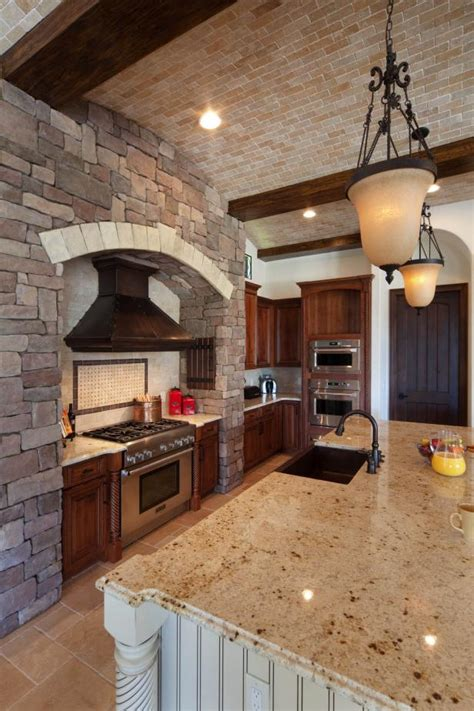 brick barrel kitchen ceiling  wood beams hgtv